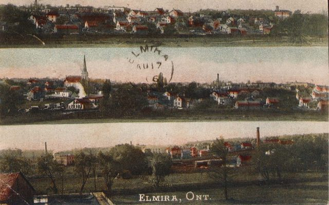 Post card of Elmira from 1906 showing multiple panoramic views from the Region of Waterloo Archives.